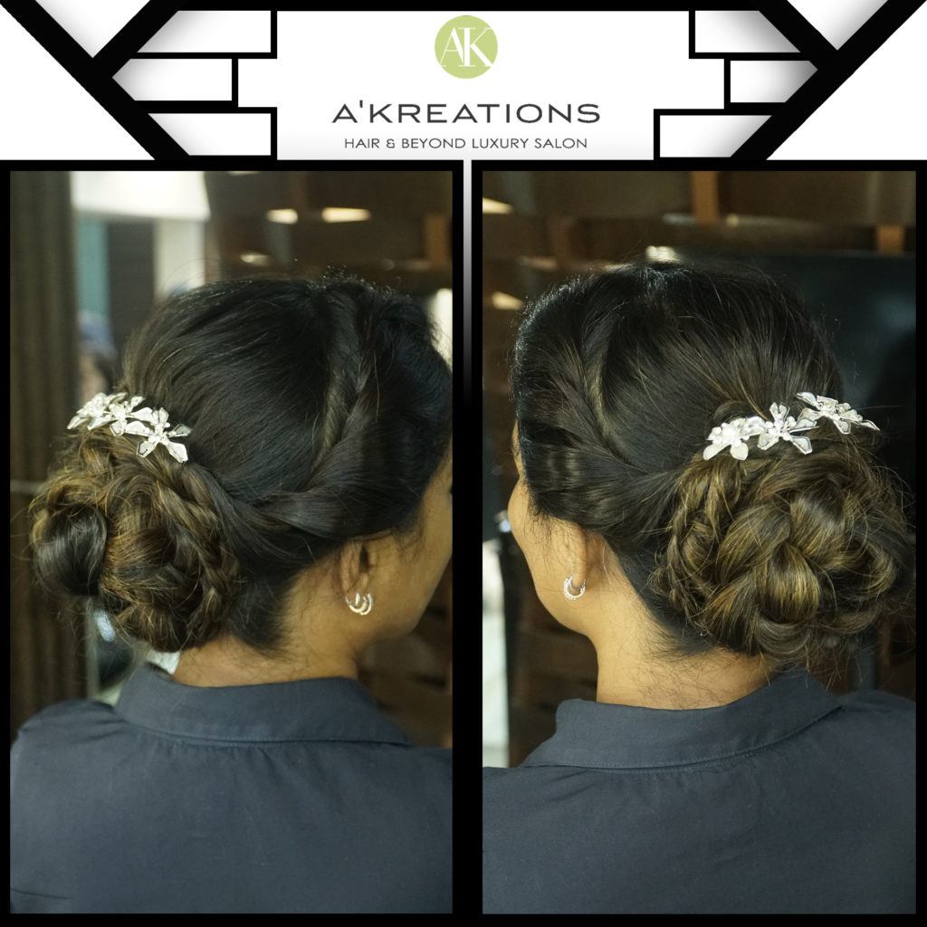 Double-sided twisties with an elegant braided bun