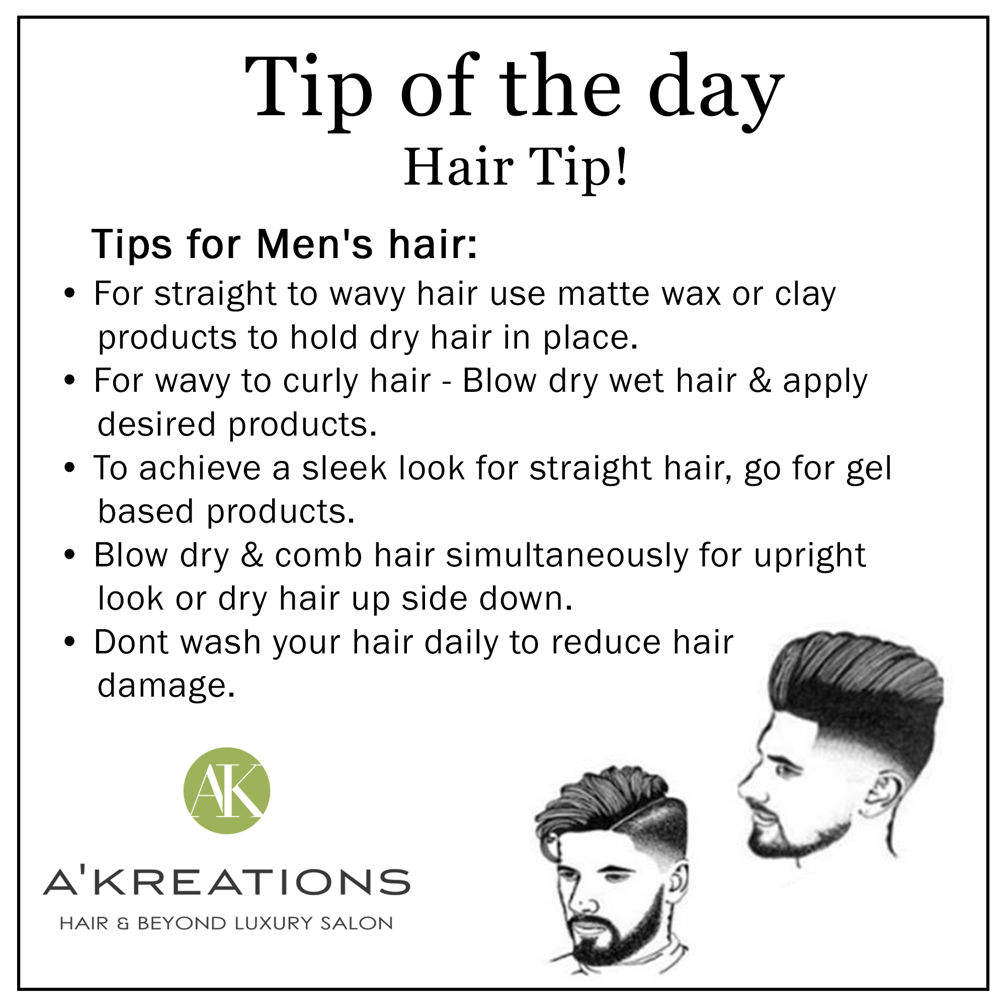 Hair Styling Tips For Mens Hair Blog A Kreations Luxury Salon