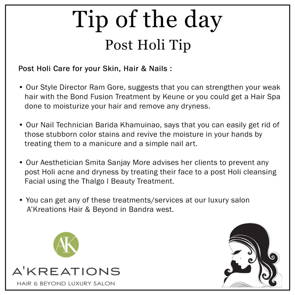 Post Holi Care for your Skin, Hair & Nails