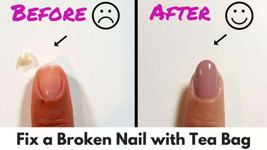 fix nails with tea bag